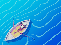 Boat Trip eevee blender3d relax chill sun summer water waves manta ray manta boat stylized animation illustration
