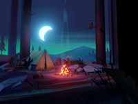 campfire forest mountains night stylized trees plants tent owl moon camping woods bonfire campfire 3d animation illustration