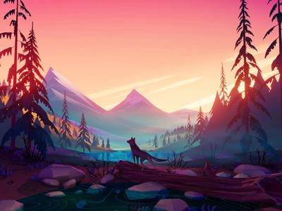 Into The Valley sunrise sunset lake wolf blender forest mountains lowpoly animal landscape 3d animation low poly illustration