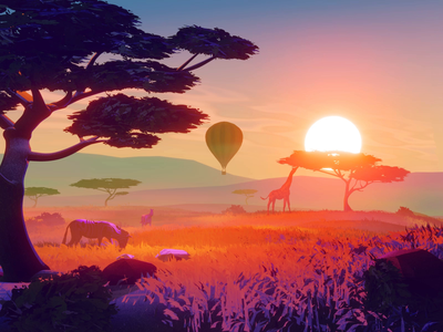 Safari stylized blender3d landscape 3d animation illustration
