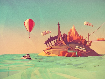 connecting europe low poly island travel 3d berlin mountains balloon boat eiffel tower paris ocean