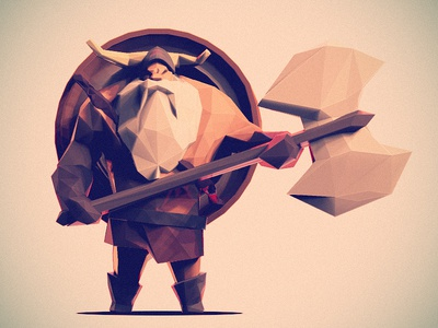 Low Poly Viking low poly viking 3d illustration character zbrush character design axe shield