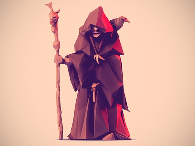 Low Poly Viking Seer low poly viking 3d illustration character seer zbtush staff character design crow