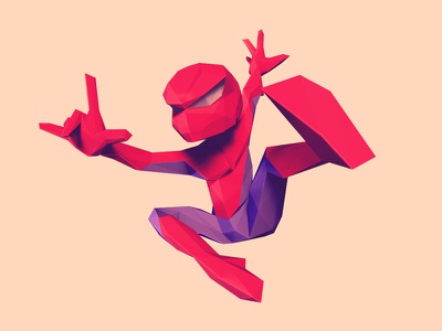 Low Poly Spiderman / boy low poly spiderman 3d illustration spider character design zbrush character