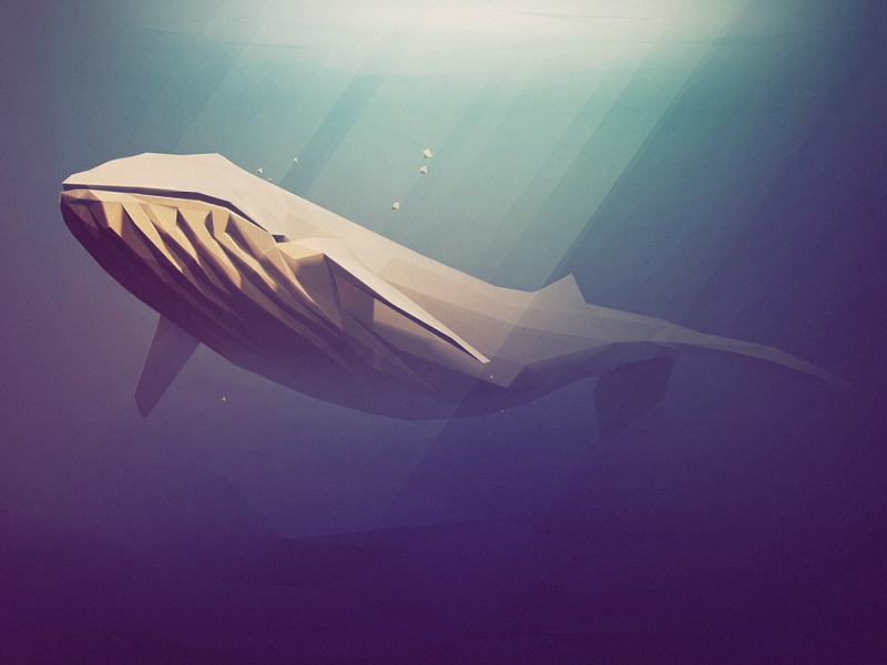 Low Poly Blue lowpoly low poly whale blue ocean rays zbrush animal illustration 3d water mood