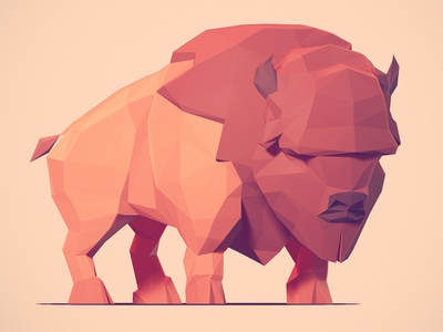 Low Poly Buffalo low poly buffalo game animal blender zbrush 3d