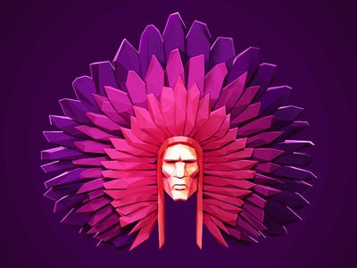 Chieftain lowpoly low poly character chieftain purple illustration face character design zbrush