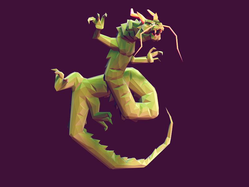 Dragon low poly dragon japanese 3d zbrush animal concept