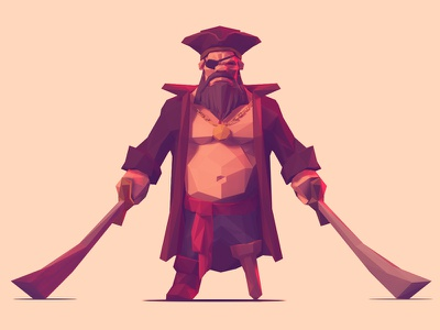 Low Poly Pirate stylized cartoon low poly pirate character 3d zbrush illustration swords character design