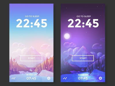 Day And Night forest trees ux design ui design lowpoly landscape low poly app mountains ui ux interface