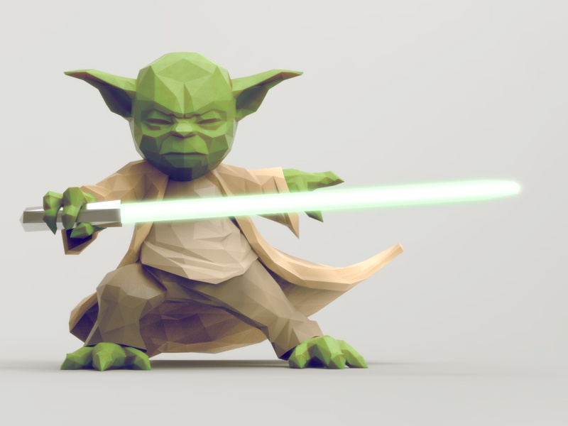 Yoda force low poly yoda star wars character light saber fighter warrior jedi illustration knight