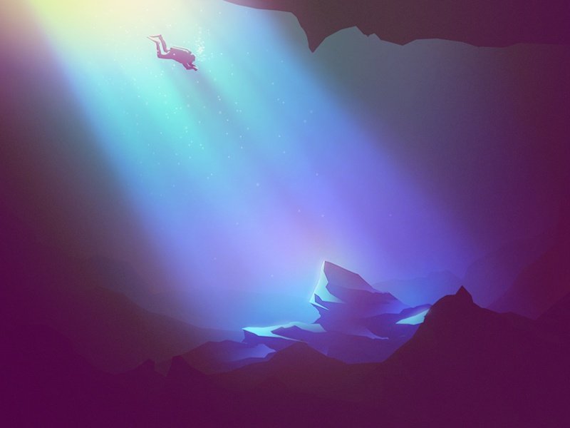 Cenote rays light rocks diver drawing purple blue diving water cenote photoshop illustration