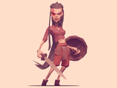 Low Poly Shieldmaiden strength woman female illustration warrior character viking shieldmaiden 3d low poly