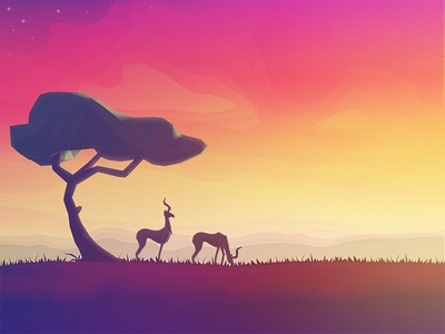 Savanna tree landscape sunset sunrise sundown scenery animal silhouette savanna antilope colors illustration
