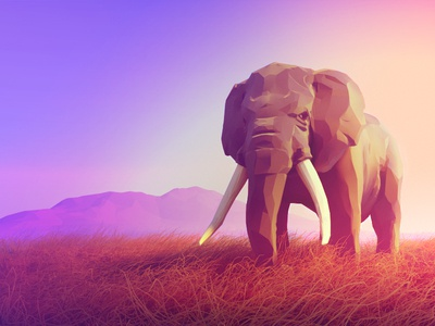 Elephant lowpoly low poly sunrise sundown sunset savanna animal landscape illustration elephant 3d blender