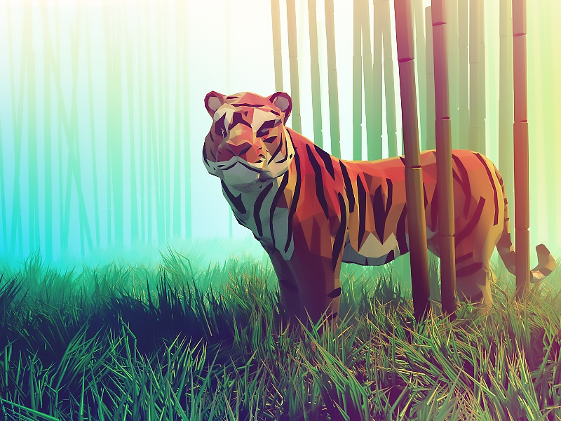Tiger lowpoly forest mood colors bamboo 3d illustration animal tiger low poly