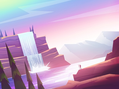 Journey rocks mountains flat illustration landscape wanderlust sea lake waterfall journey
