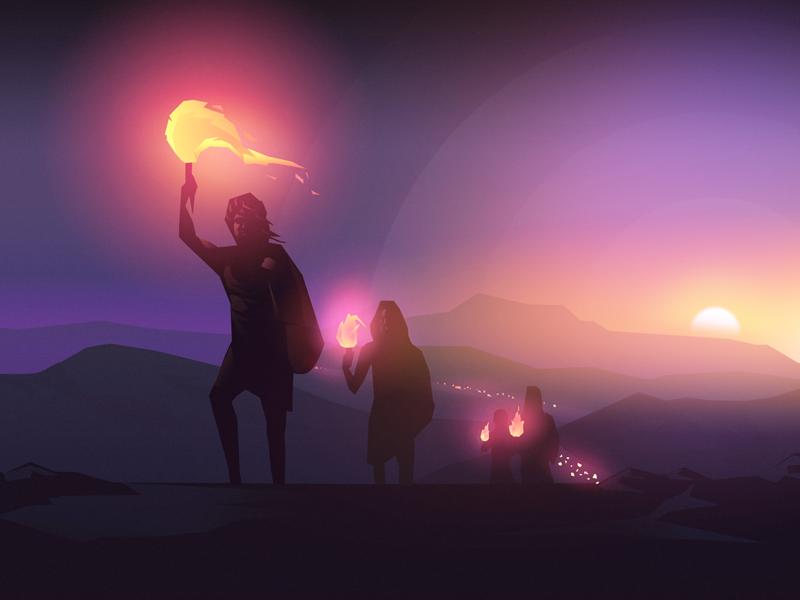 Exodus landscape character crowd illustration sunrise sundown fire night exodus bible