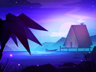 Beach house procreate ipad illustration mountains water sea ocean night palm boat house beach