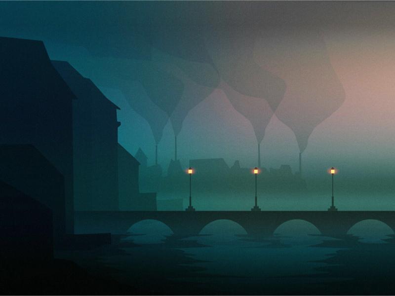 The poet city illustration fog sad silhouette industry smoke lights bridge industrial london
