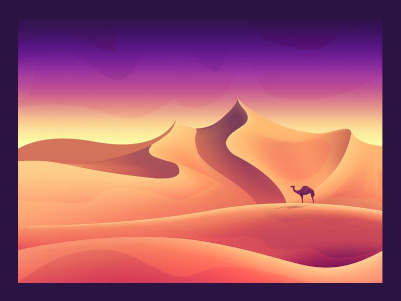 Desert animal sun solitude sand landscape illustrator illustration camel desert