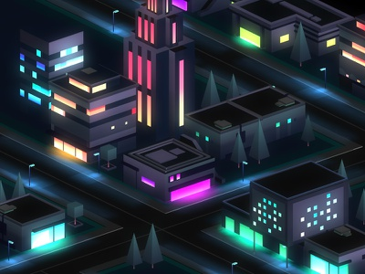 city at night - level design low poly lowpoly game mobile unity illustration streets night lights neon isometric city