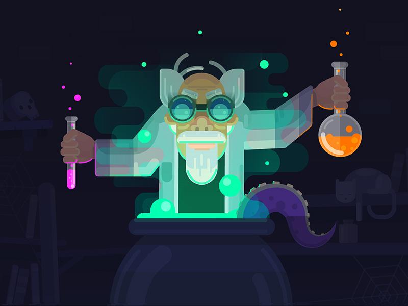 Mad Alchemist illustration ux neon colors lab science alchemy design illustrator vector flat character