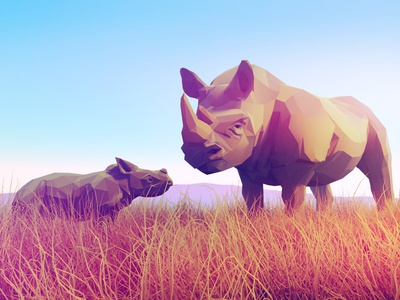 Rhinos africa animal design character stylized 3d lowpoly low poly animals rhino