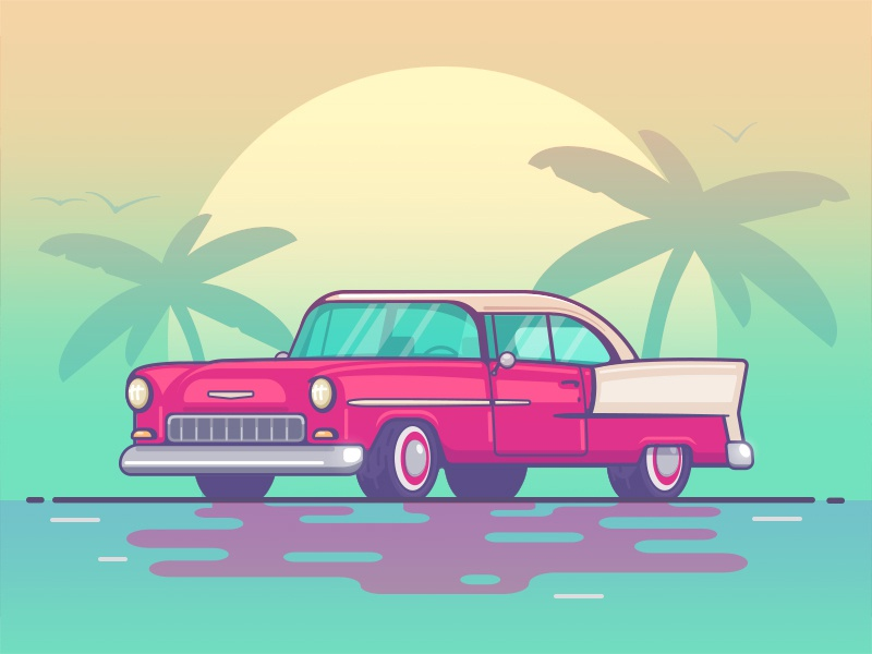 Cuba Sunrise palms sunrise beach ortographic flat illustration vector oldtimer chevy car