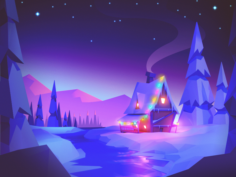 Winter Wonderland winter house lights night landscape low poly holiday snow cabin christmas