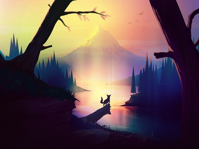Fox Tale gradient flat tree river forest landscape mountain tale fox