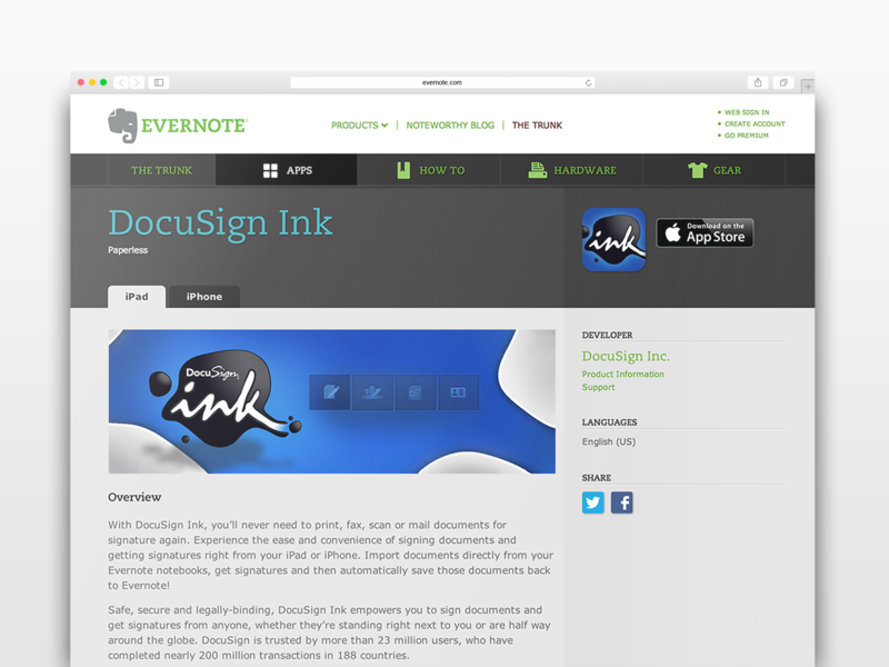 DocuSign for Evernote ilustration ui design creative direction integrated marketing docusign evernote product marketing