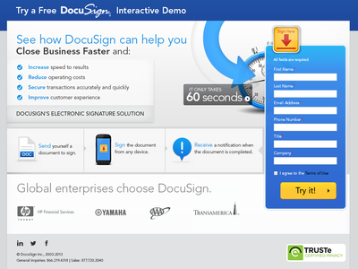 Vertical focused landing pages - DocuSign