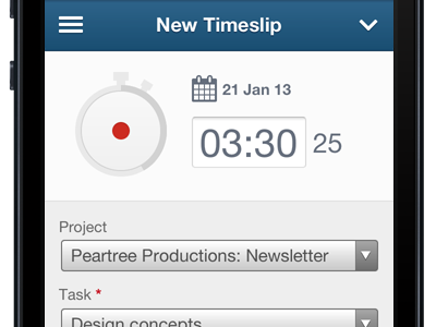 Time Tracking shipped ui freeagent mobile time timer
