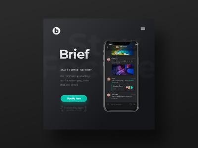 Brief App Dark Mode & WordPress Website brief product design uxui branding design wordpress design minimalist figma