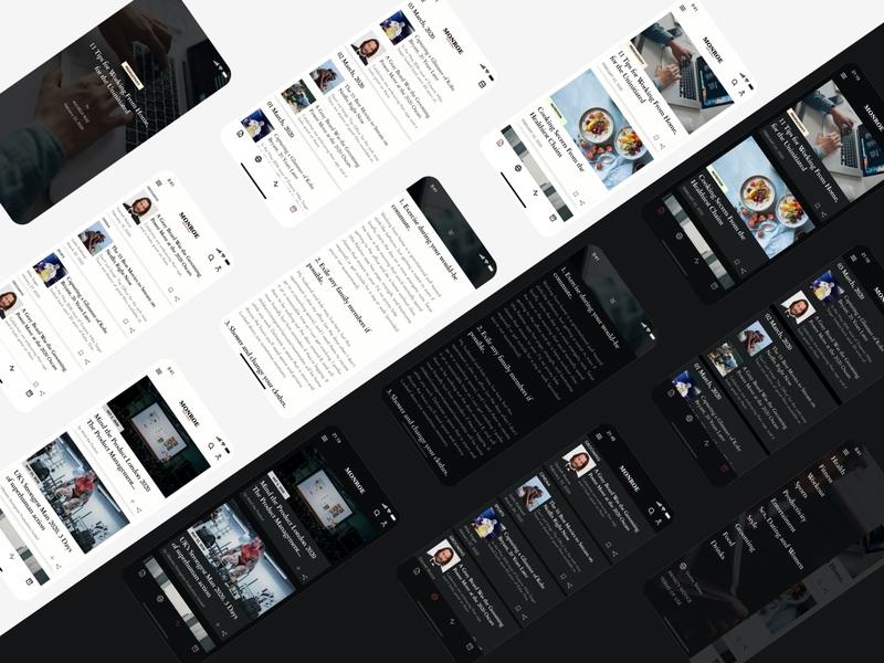Mens Journal Mobile App Screens Concept