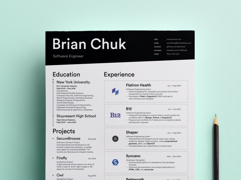 Personal Resumé by Brian Chuk on Dribbble