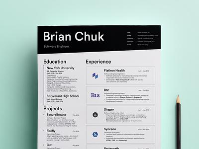 Personal Resumé print clean experience education profile developer curriculum vitae typography white resume resume cv black and white black resume