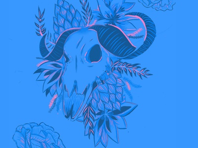 Blue and Pink Skull
