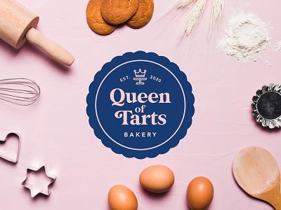 Queen of Tarts Bakery Logo Design minimalist logo bakerylogo lettering love bakery vector adobe flat adobeillustrator type design identity daily type typography lettering branding logo design