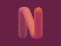 Textured Furry Letter N