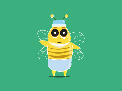 Baby Bee - Free AI download free ressource illustration vector illustrator diapers baby bee