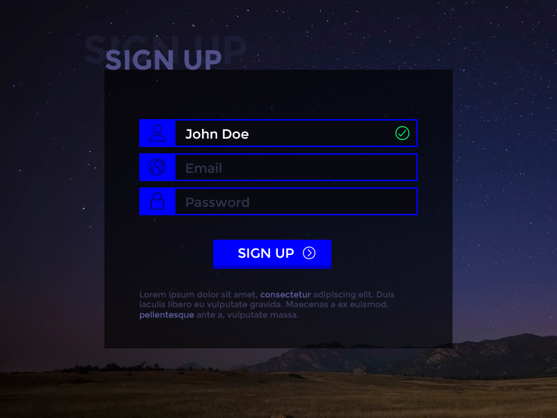 Day 001 sign up form