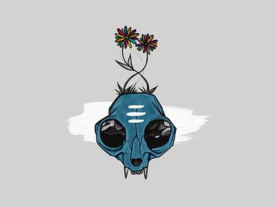 Cat Skull Music Graphic creepy indie minimal illustration album cover design album cover albumart music skull cat