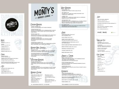 Montys Burger Lounge Temporary Menus