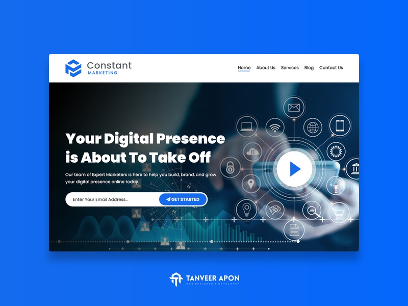 Technology Company Website Design abstract landing page design web page design web design ux ui design