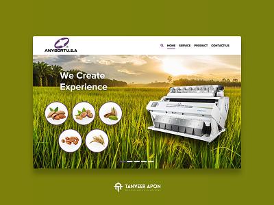 Agricultural Company Website Design machine wheat jute rice company agriculture elegant awesome web page design landing page design ui ux web design design