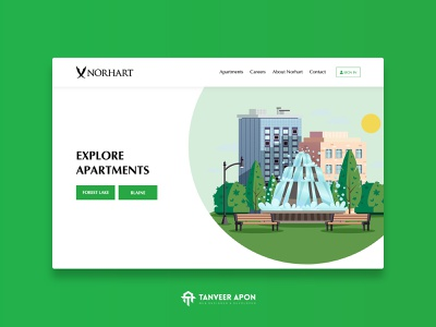 Construction & Apartment Rent Company Website Design elegant fountain house home apartment construction clean illustrator illustration awesome web page design landing page design ui ux web design design