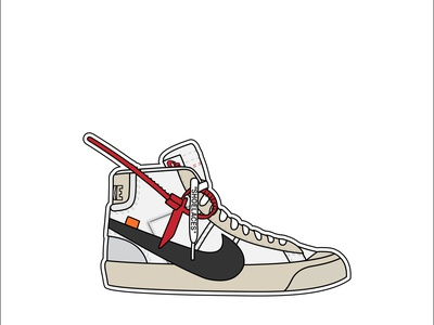 Nike Blazer Mid Off-White sneakers vector flat illustration design off white blazer nike