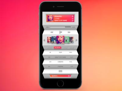 Pink and Orange Accordion Music Player App
